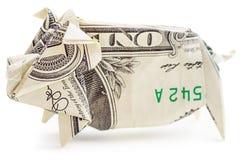 美元被隔绝的origami猪 库存图片