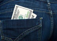 美元装在口袋里您 免版税图库摄影