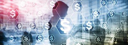美元象,金钱网络结构 ICO、贸易和投资 Crowdfunding 图库摄影