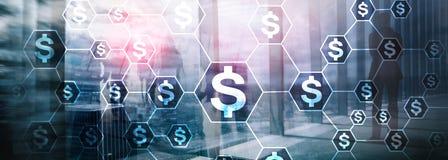 美元象,金钱网络结构 ICO、贸易和投资 Crowdfunding 库存照片