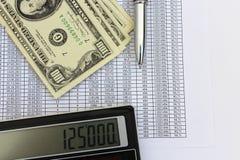 美元钞票、计算器和笔 免版税库存图片