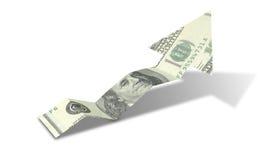 美元钞票上升趋势箭头 皇族释放例证