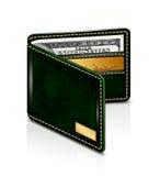 美元钞票和金卡片在钱包里在白色背景 免版税库存照片