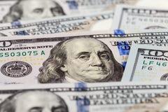 从美元钞票的本杰明・富兰克林画象 免版税库存图片
