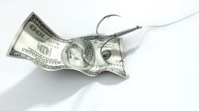 美元钞票被引诱的勾子 免版税库存照片