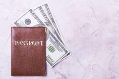 美元,棕色护照,文本的地方 免版税库存图片