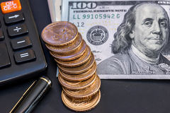 美元,硬币,计算器 免版税图库摄影
