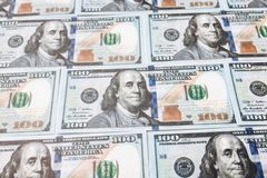 100美元,美国钞票,背景金钱,现金货币关闭许多票据-,总统` s面孔 库存图片