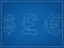 美元,英磅,欧洲标志图纸 免版税图库摄影