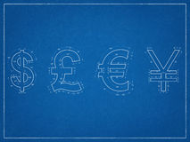 美元,英磅, Japanesse日元,欧洲标志图纸 免版税库存图片