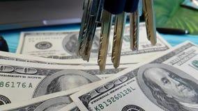 美元,飞行,慢动作计数财务钥匙手计数办公室 股票录像