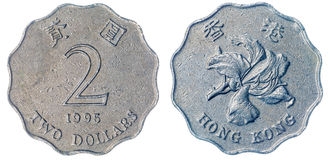 2美元1995在白色背景,香港铸造隔绝 免版税库存照片