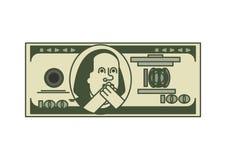 美元OMG画象富兰克林 美国金钱 美国货币查出的四分之一白色 向量例证