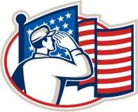 美军士兵减速火箭致敬的旗子 库存照片