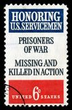 美利坚合众国取消了尊敬美国sevicemen战俘的邮票 库存照片