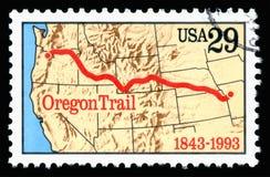 美利坚合众国取消了显示奥勒冈小径的周年的图象邮票 库存图片