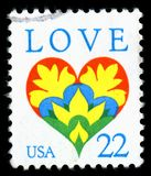 美利坚合众国取消了显示爱心脏的图象邮票 库存照片
