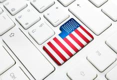 美利坚合众国或美国网概念英语 Fl 免版税库存图片