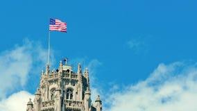 美利坚合众国沙文主义情绪在摩天大楼的上面 股票录像