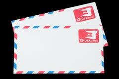 美利坚合众国-大约1968年:航空邮件的一个老信封 免版税库存图片