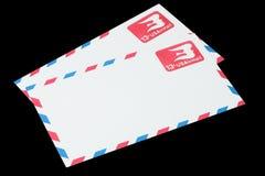 美利坚合众国-大约1968年:航空邮件的一个老信封 免版税库存照片