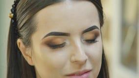 美发师做专业眼睛构成 美好的设计 股票视频