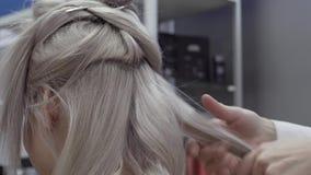 美发师做美丽,典雅的卷毛有金发的一个客户女孩 股票录像