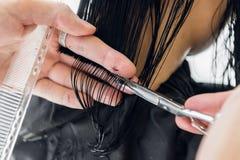 美发师切口客户在沙龙的` s头发与剪刀特写镜头 使用梳子 库存照片
