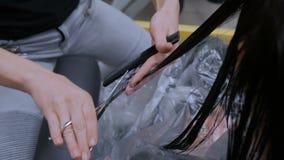 美发师妇女客户的切口头发 股票录像