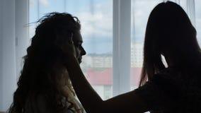 美发师有卷发的定象妇女有喷发剂的 女孩剪影反对窗口的在公寓 影视素材