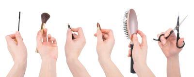 美发师构成沙龙用工具加工白色 免版税库存照片