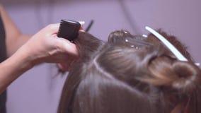 美发师梳她的头发 股票视频