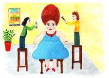 美发师的美丽的妇女 额嘴装饰飞行例证图象其纸部分燕子水彩 免版税图库摄影