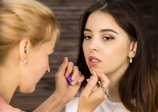 美发师绘有刷子的嘴唇给年轻客户在秀丽交谊厅 新娘概念礼服婚姻纵向的台阶 免版税库存图片