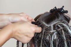 美发师编织dreadlocks给一个美丽的女孩 库存图片