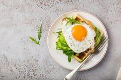 美味奶蛋烘饼用鲕梨、芝麻菜和煎蛋早餐 免版税库存图片