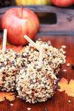 美味巧克力片Carmel苹果 库存照片