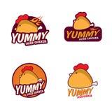 美味的炸鸡商标传染媒介布景 向量例证