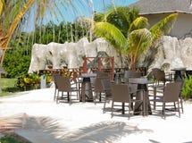 美味的舒适外部咖啡馆在热带庭院里 库存图片