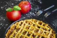 美味的苹果饼和苹果 库存照片