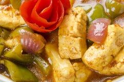 美味的辣椒paneer用煮沸的米 免版税库存照片