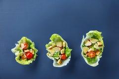 美味的顶视图结构的新鲜的健康沙拉在黑暗的背景的莴苣叶子服务 免版税库存图片