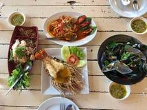 美味的seadood在泰国 库存照片
