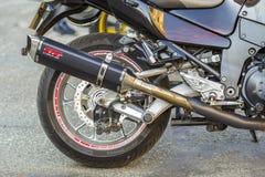 美因法,德国- 2017年10月14日:体育motorcyc后轮  免版税库存图片