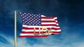 美国下垂与标题美国的滑子样式 库存例证