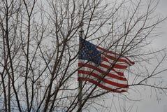 美国下垂在充分的帆柱 库存图片