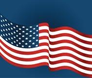 美国下垂在蓝色背景的特写镜头 库存照片