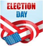 美国与丝带旗子的选举日 库存照片