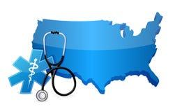 美国与听诊器的医疗保健概念 库存例证