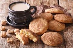 美国与牛奶特写镜头的曲奇饼Snickerdoodle和咖啡 Ho 库存图片